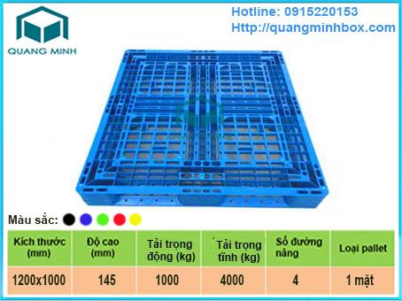 Mô tả: pallet-nhua-1200x1000x145-mm
