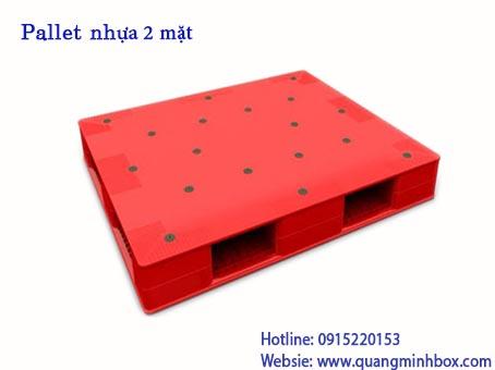 pallet nhựa 2 mặt màu đỏ