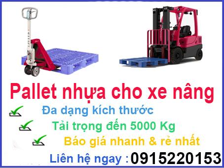 pallet nhựa dùng cho xe nâng tay và xe nâng máy
